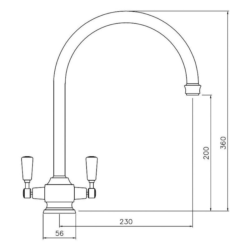 Abode Hargrave Swan Neck Monobloc Dual Lever Kitchen Sink Mixer Tap - Brushed Nickel