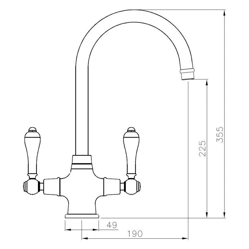 Abode Ludlow Monobloc Dual Lever Kitchen Mixer Tap - Antique Brass