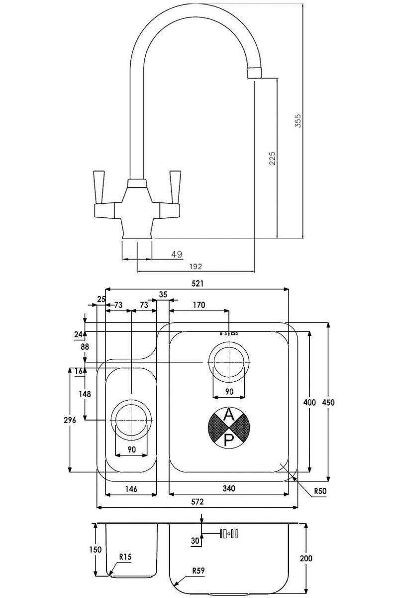 Abode Matrix 1.5 RH Bowl Kitchen Sink with Astral Sink Tap 572mm L x 450mm W - Stainless Steel