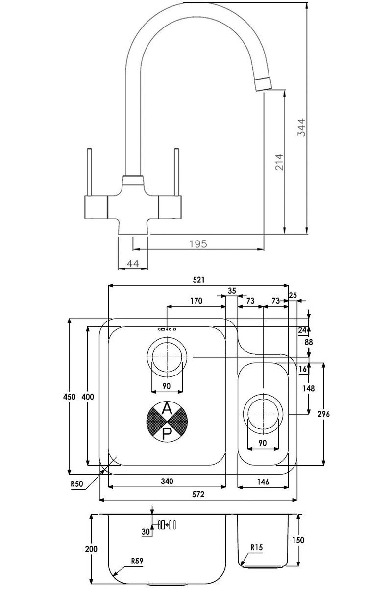 Abode Matrix 1.5 LH Bowl Kitchen Sink with Nexa Sink Tap 572mm L x 450mm W - Stainless Steel
