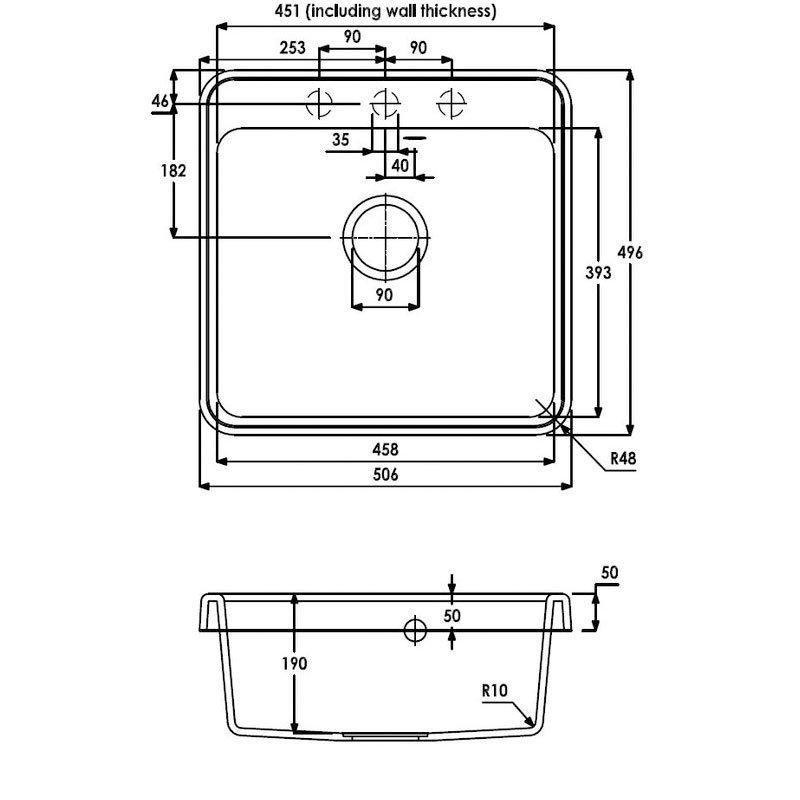 Abode Matrix GR10 1.0 Bowl Granite Inset Kitchen Sink 506mm L x 496mm W - White
