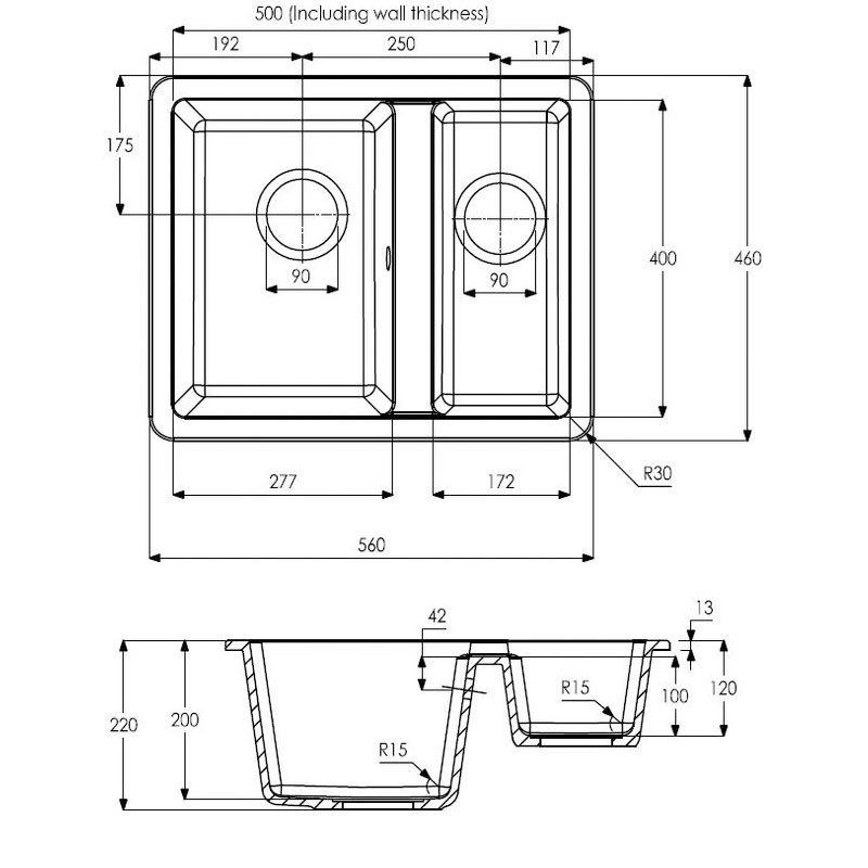 Abode Matrix SQ GR15 1.5 Bowl Granite Inset Kitchen Sink 560mm L x 460mm W - Black Metallic