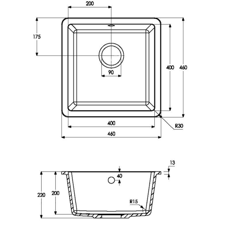 Abode Matrix SQ GR15 1.0 Bowl Granite Inset Kitchen Sink 460mm L x 460mm W - Black Metallic