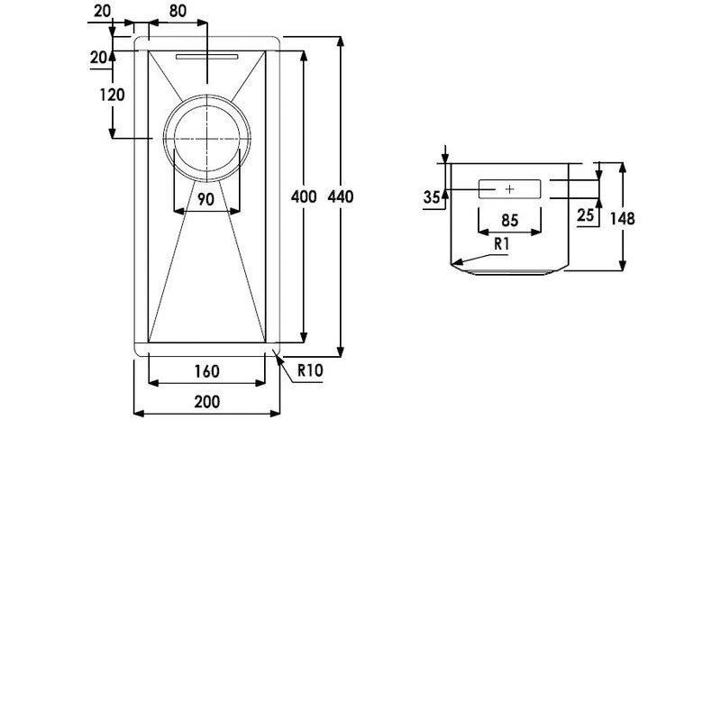 Abode Matrix R0 0.5 Bowl Undermount Kitchen Sink 200mm L x 440mm W - Stainless Steel