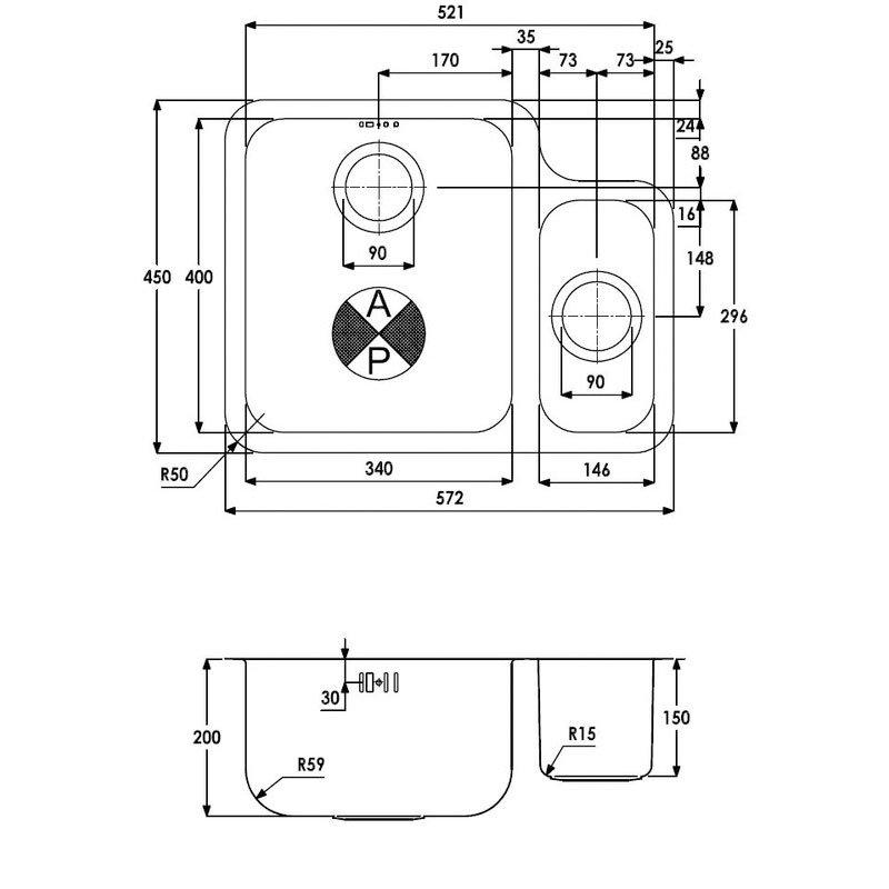 Abode Matrix R50 1.5 Left Handed Bowl Undermount Kitchen Sink 572mm L x 450mm W - Stainless Steel