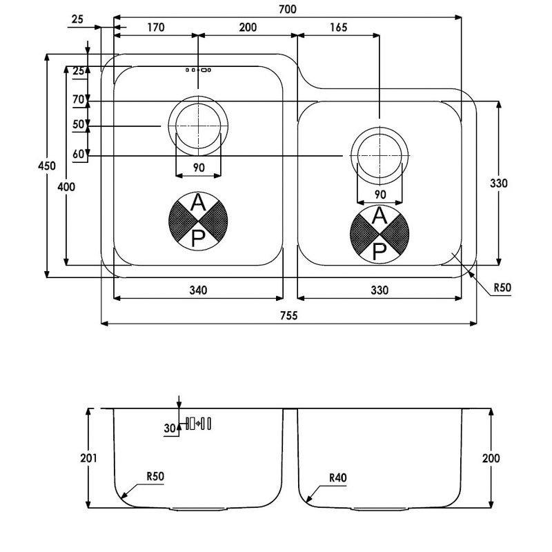 Abode Matrix R50 1.75 Left Handed Main Bowl Kitchen Sink 755mm L x 450mm W - Stainless Steel