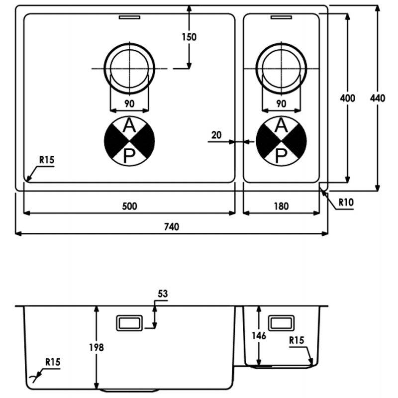 Abode Matrix R15 1.5 Left Handed Bowl Undermount Kitchen Sink 740mm L x 440mm W - Stainless Steel