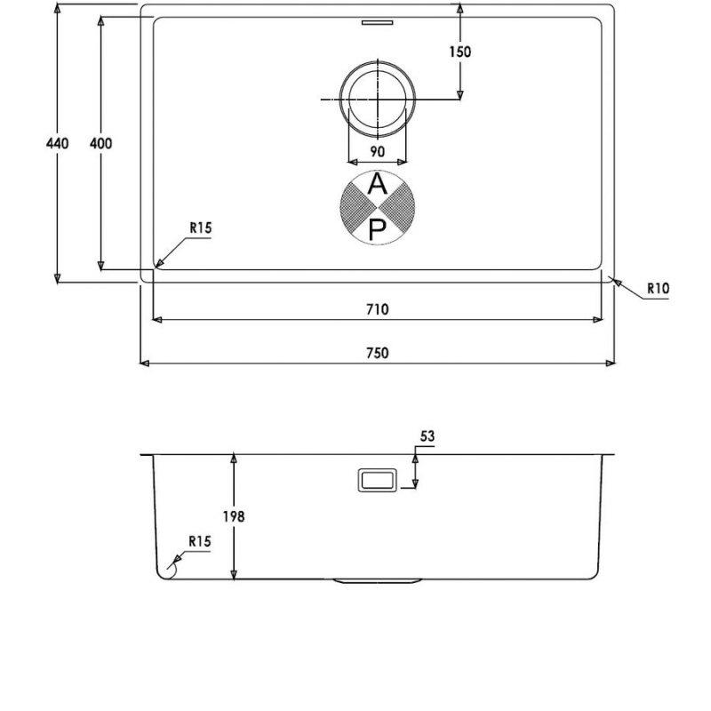 Abode Matrix R15 1.0 Extra Large Bowl Undermount Kitchen Sink 750mm L x 440mm W - Stainless Steel