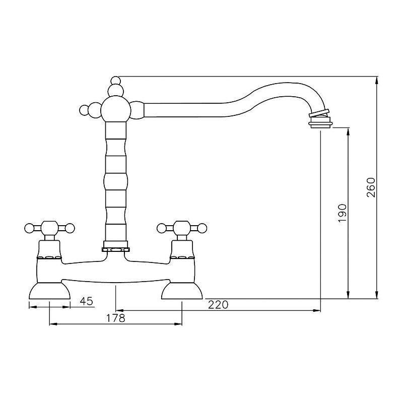 Abode Melford Traditional Bridge Dual Handle Kitchen Sink Mixer Tap - Brushed Nickel