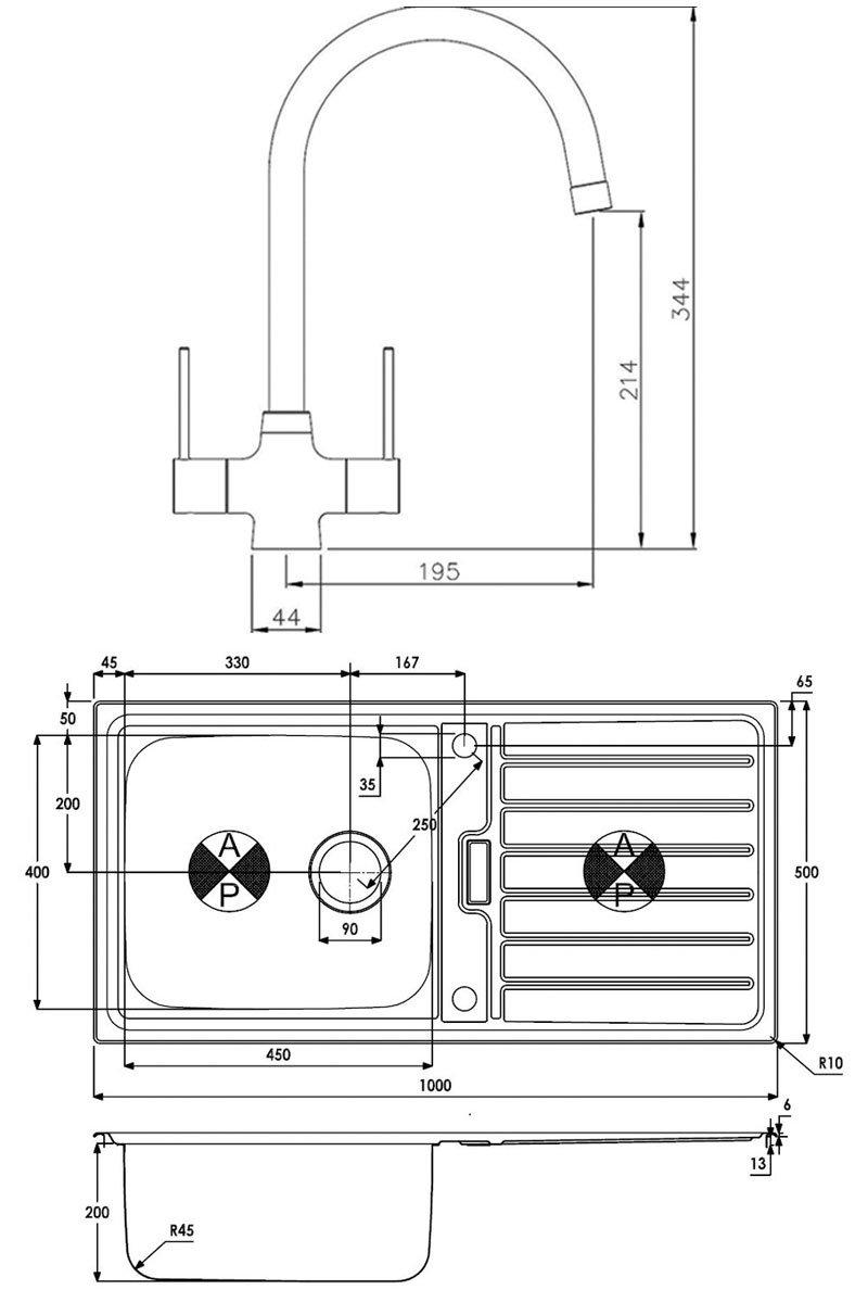 Abode Neron 1.0 Bowl Inset Kitchen Sink with Nexa Sink Tap 1000mm L x 500mm W - Stainless Steel