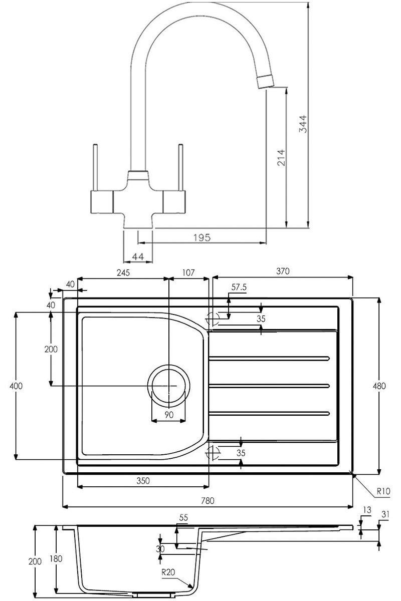 Abode Oriel 1.0 Bowl Granite Inset Kitchen Sink with Nexa Sink Tap 780mm L x 480mm W - Black