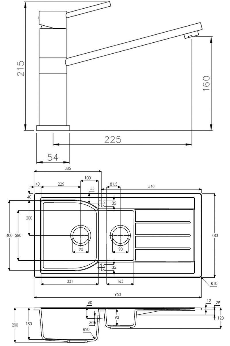 Abode Oriel 1.5 Bowl Granite Inset Kitchen Sink with Specto Sink Tap 950mm L x 480mm W - Black