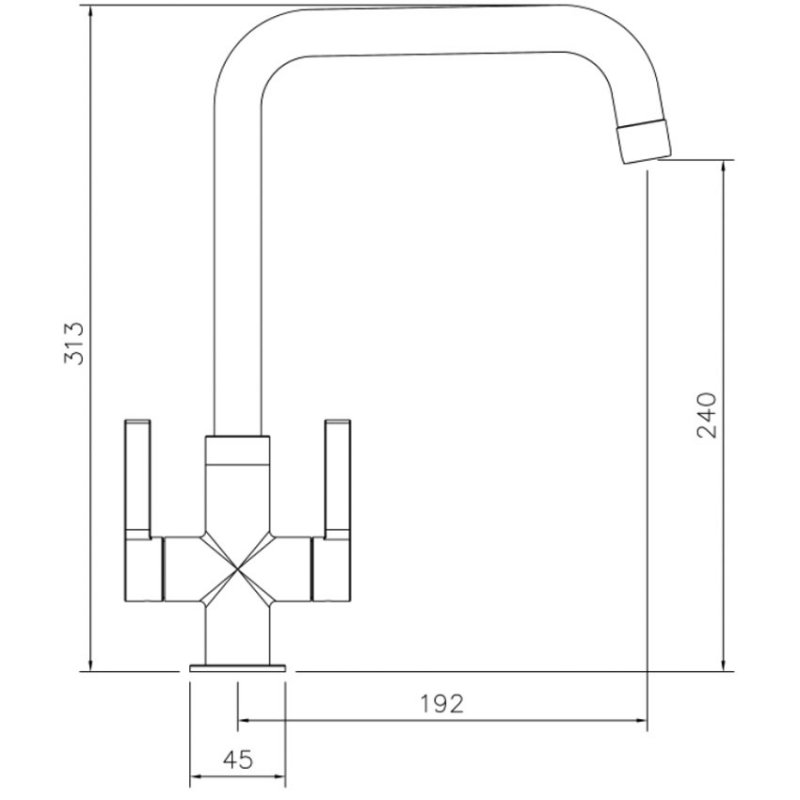 Abode Pico Quad Monobloc Kitchen Sink Mixer Tap - Chrome