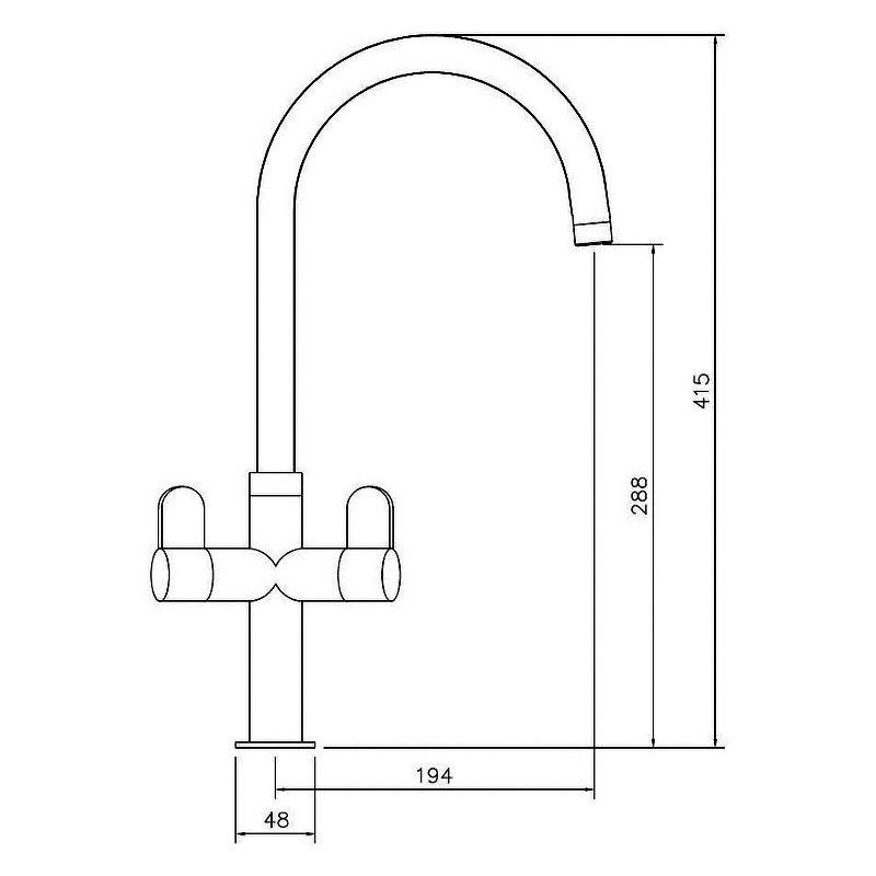 Abode Verla Monobloc Dual Lever Kitchen Sink Mixer Tap - Brushed Nickel