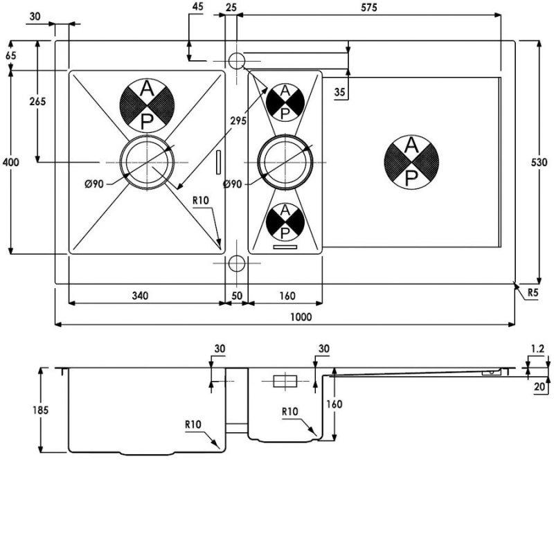 Abode Verve 1.5 Bowl Inset Kitchen Sink 1000mm L x 530mm W - Stainless Steel