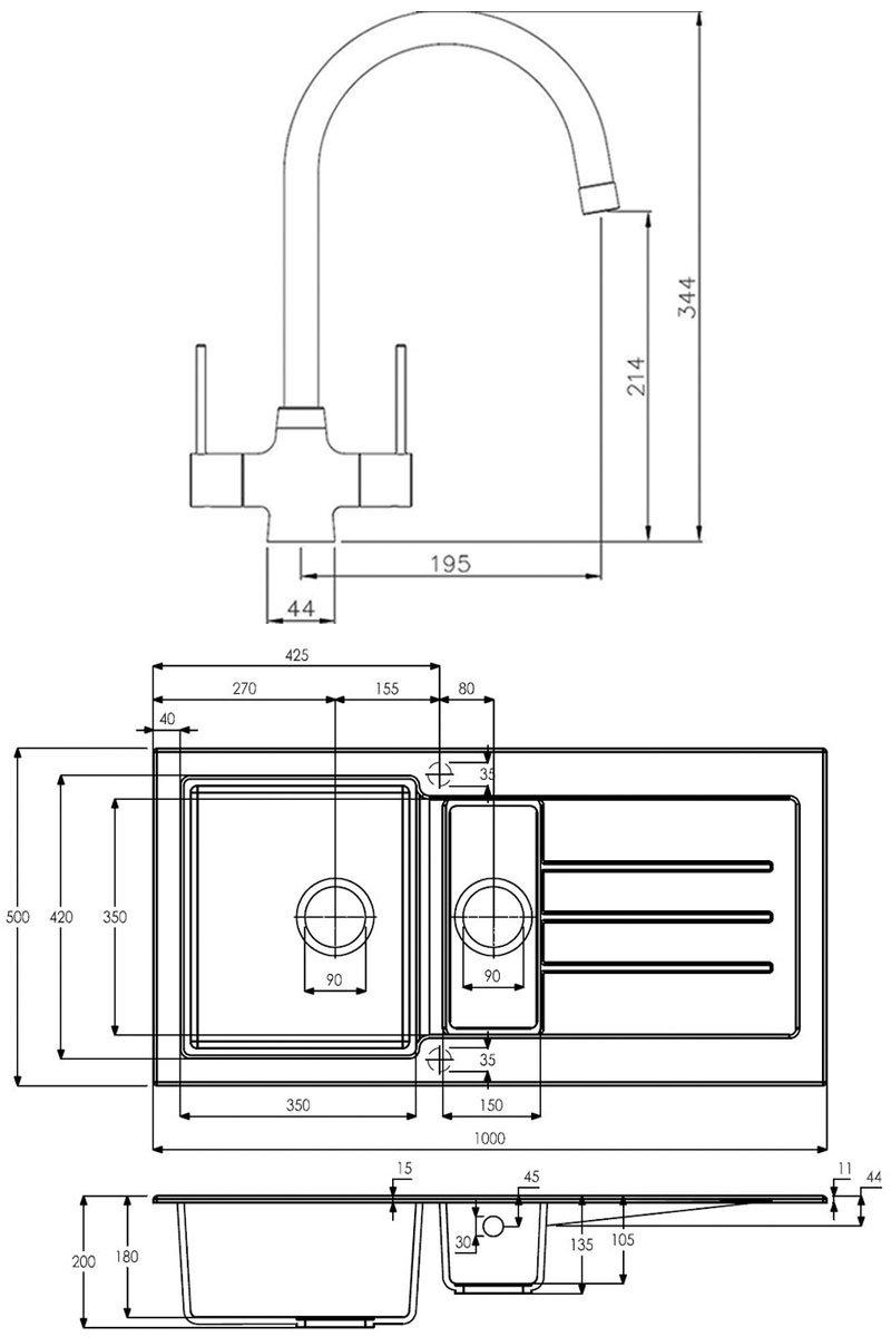 Abode Xcite 1.5 Bowl Granite Kitchen Sink with Nexa Sink Tap 1000mm L x 500mm W - Black Metallic
