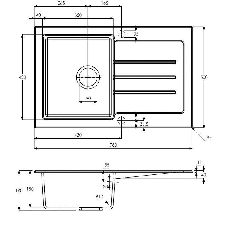 Abode Xcite 1.0 Bowl Granite Inset Kitchen Sink 780mm L x 500mm W - Black Metallic