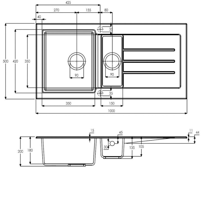 Abode Xcite 1.5 Bowl Granite Inset Kitchen Sink 1000mm L x 500mm W - Grey Metallic