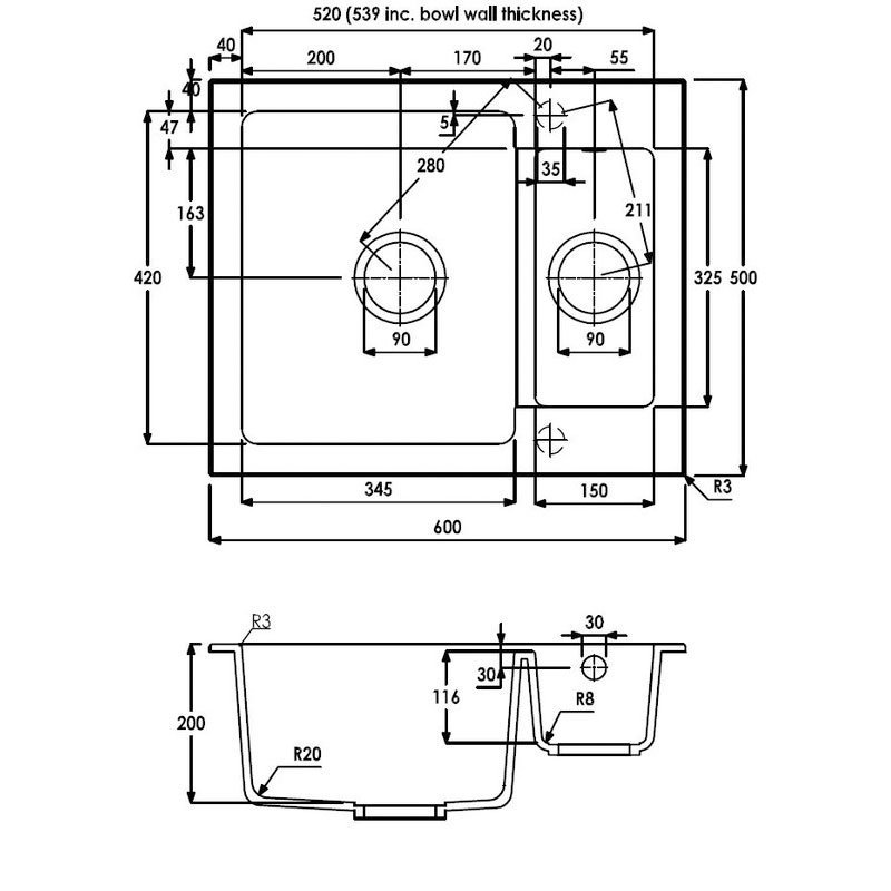 Abode Zero 1.5 Bowl Granite Inset Kitchen Sink 600mm L x 500mm W - White