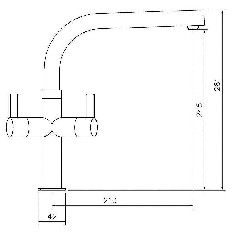 Abode Zucca Monobloc Dual Lever Kitchen Sink Mixer Tap - Brushed Nickel