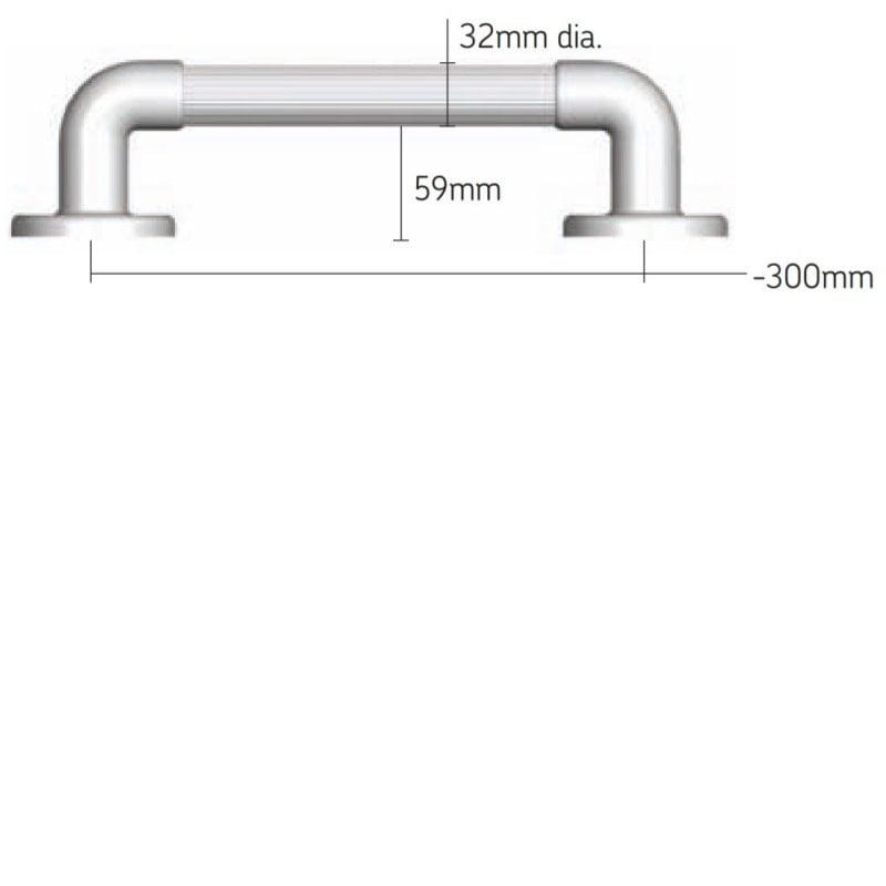 AKW 1400 Series Straight Fluted Grab Rail, 300mm Length, Blue