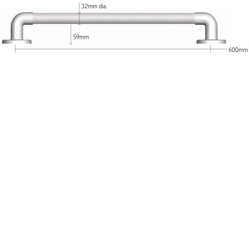 AKW 1400 Series Straight Plastic Fluted Grab Rail 600mm Length - Mid Grey