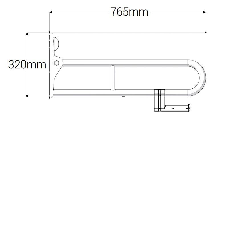 AKW 1800 Series Folding Support Grab Rail, 765mm Length, Blue