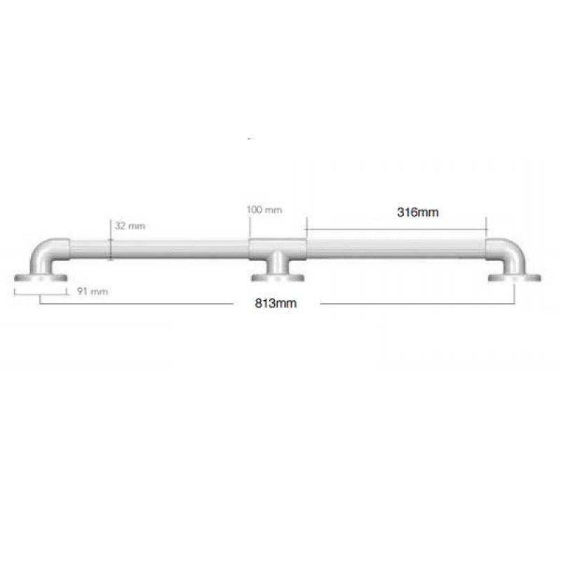 AKW 1900 Series Straight Grab Rail, 810mm Length, White