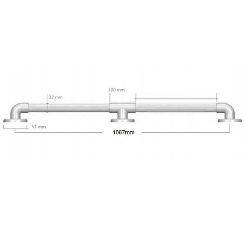 AKW 1900 Series Straight Grab Rail, 1067mm Length, Blue