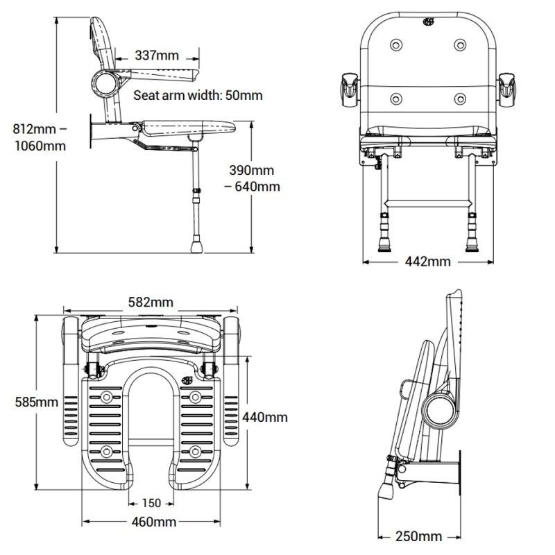AKW 4000 Series Standard Fold Up Horseshoe Shower Seat Grey, Back & Grey Arms