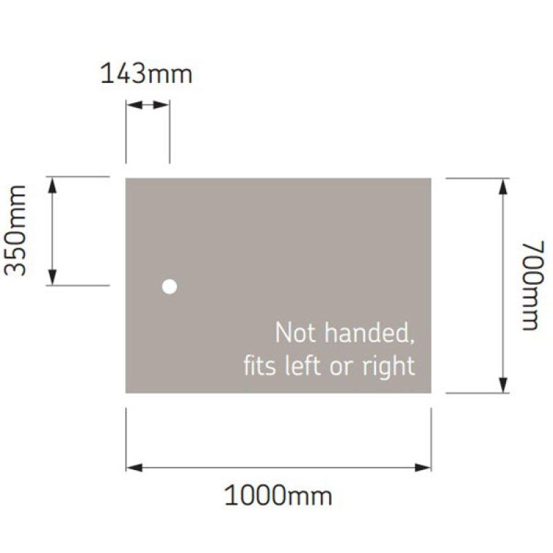 AKW Braddan Rectangular Shower Tray, 1000mm x 700mm, Non-Handed