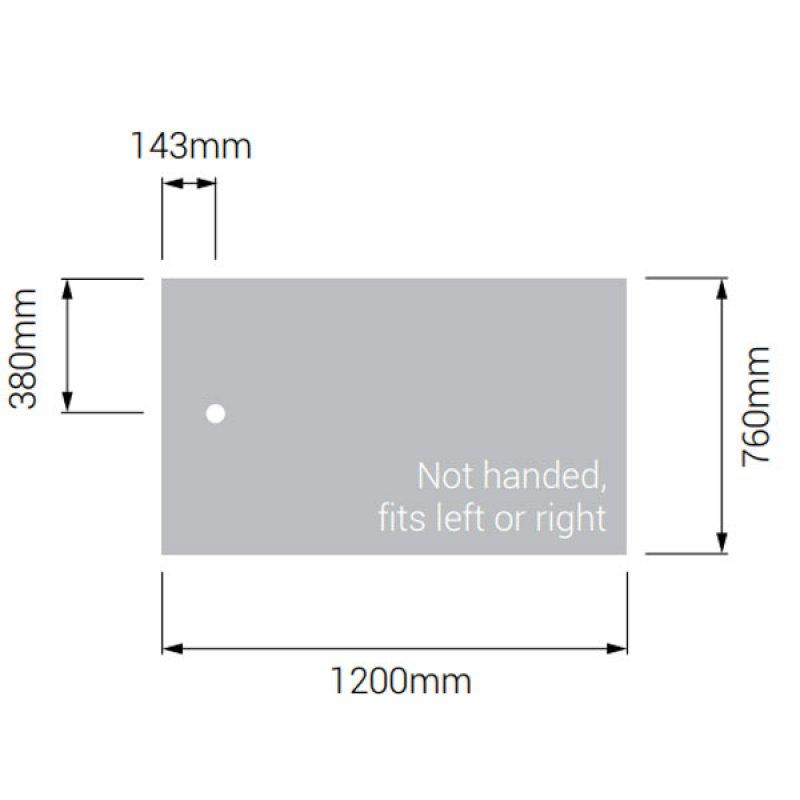 AKW Braddan Rectangular Shower Tray with Gravity Waste 1200mm x 760mm