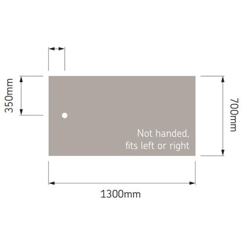 AKW Braddan Rectangular Shower Tray, 1300mm x 700mm, Non-Handed