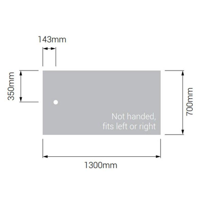 AKW Braddan Rectangular Shower Tray with Gravity Waste 1300mm x 700mm