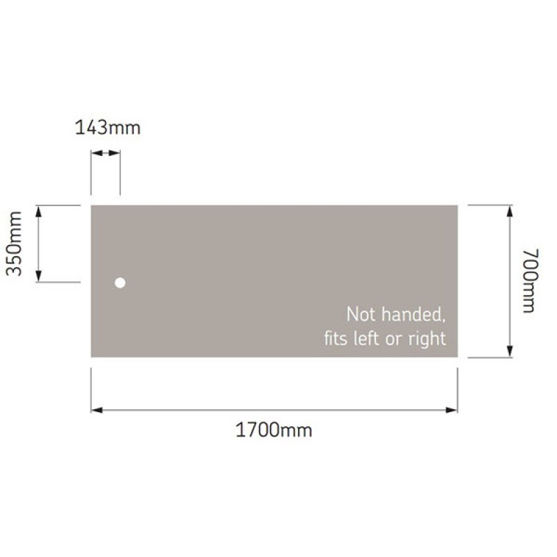 AKW Braddan Rectangular Shower Tray, 1700mm x 700mm, Non-Handed