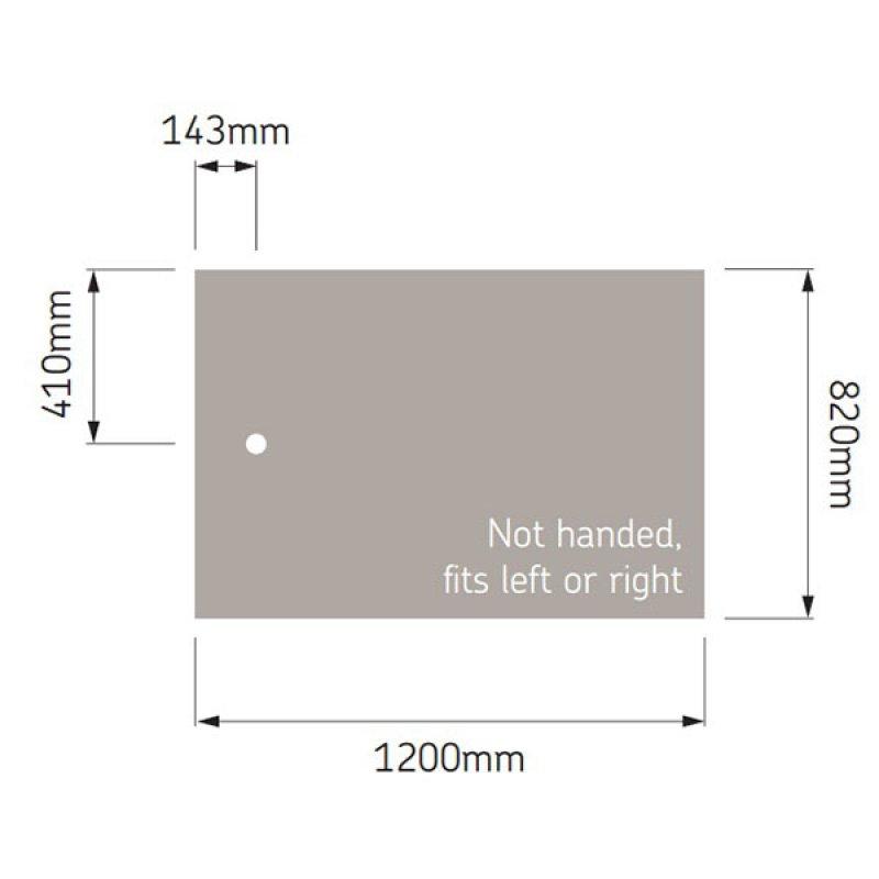 AKW Braddan Rectangular Shower Tray, 1200mm x 820mm, Non-Handed