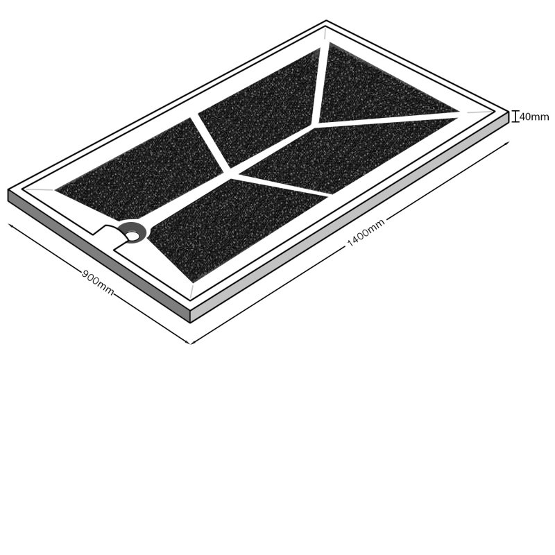 AKW Braddan Rectangular Shower Tray 1400mm x 900mm - Non-Handed