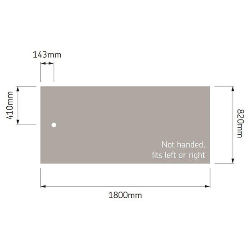 AKW Braddan Rectangular Shower Tray, 1800mm x 820mm, Non-Handed