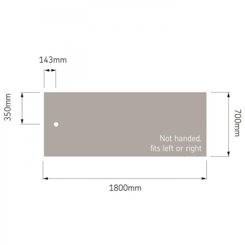 AKW Braddan Rectangular Shower Tray with Upward Pumped Waste 1800mm x 700mm - Non-Handed