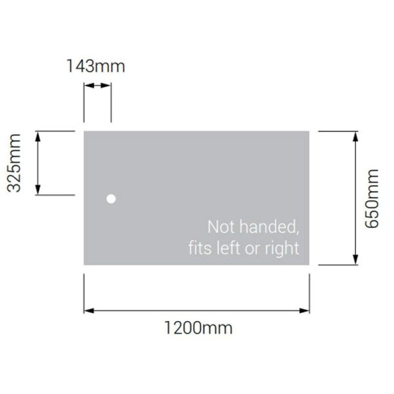 AKW Braddan Rectangular Shower Tray with Gravity Waste 1200mm x 650mm
