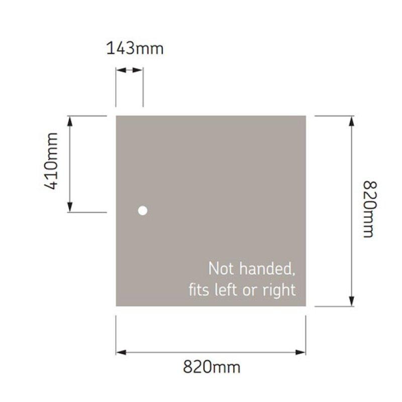 AKW Braddan Square Shower Tray, 820mm x 820mm, Non-Handed