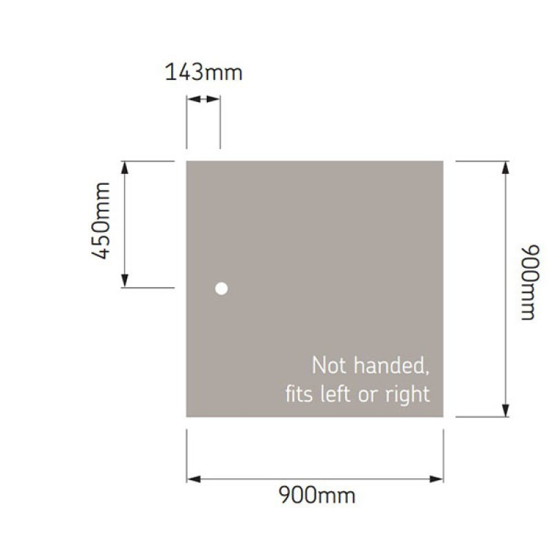 AKW Braddan Square Shower Tray, 900mm x 900mm, Non-Handed