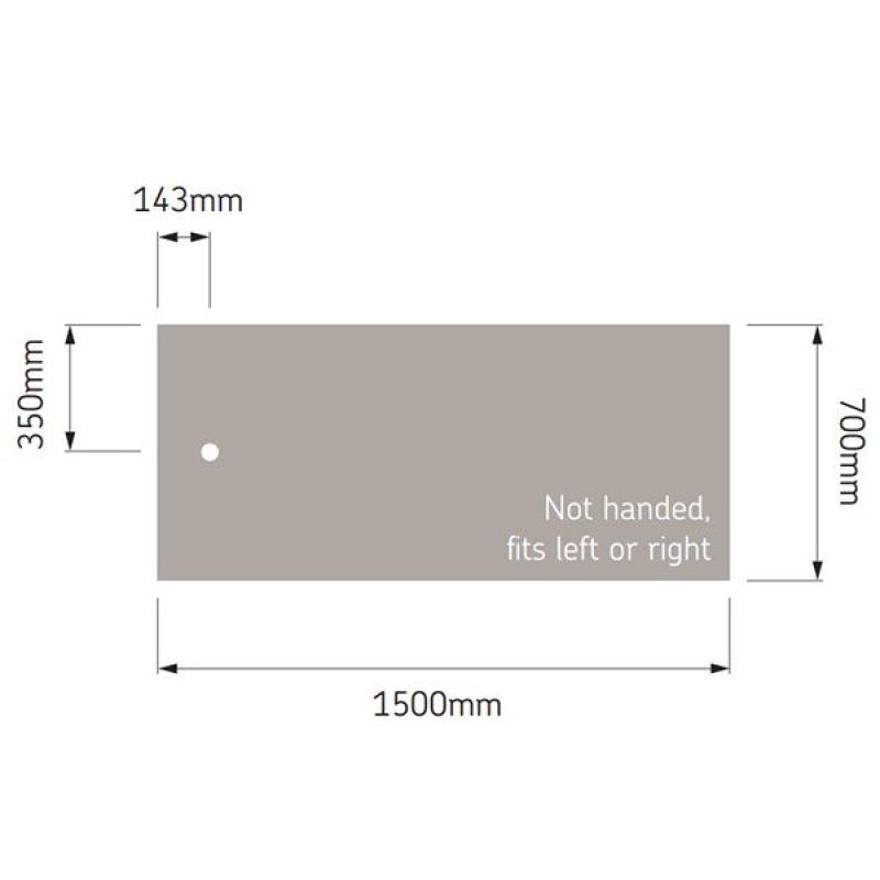 AKW Braddan Rectangular Shower Tray, 1500mm x 700mm, Non-Handed
