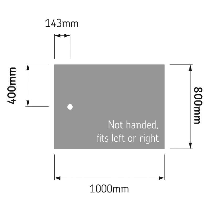 AKW Braddan Rectangular Shower Tray with Upward Pumped Waste 1000mm x 800mm - Non-Handed