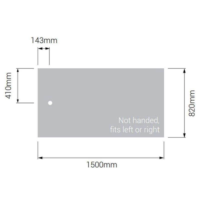 AKW Braddan Rectangular Shower Tray with Gravity Waste 1500mm x 820mm