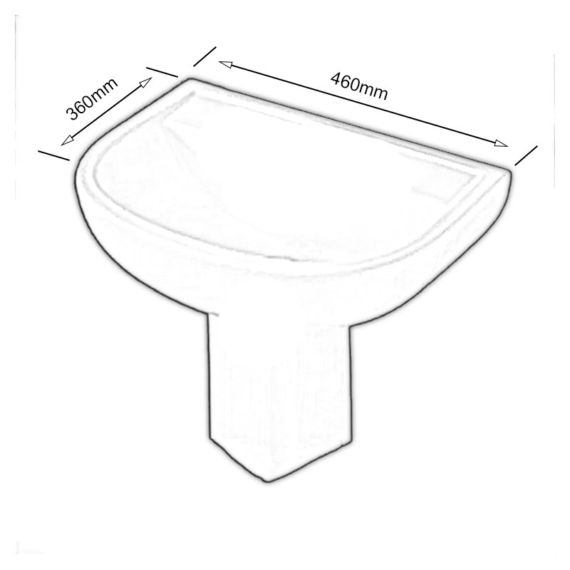 AKW Compact Basin with Semi Pedestal 450mm Wide - 1 Tap Hole