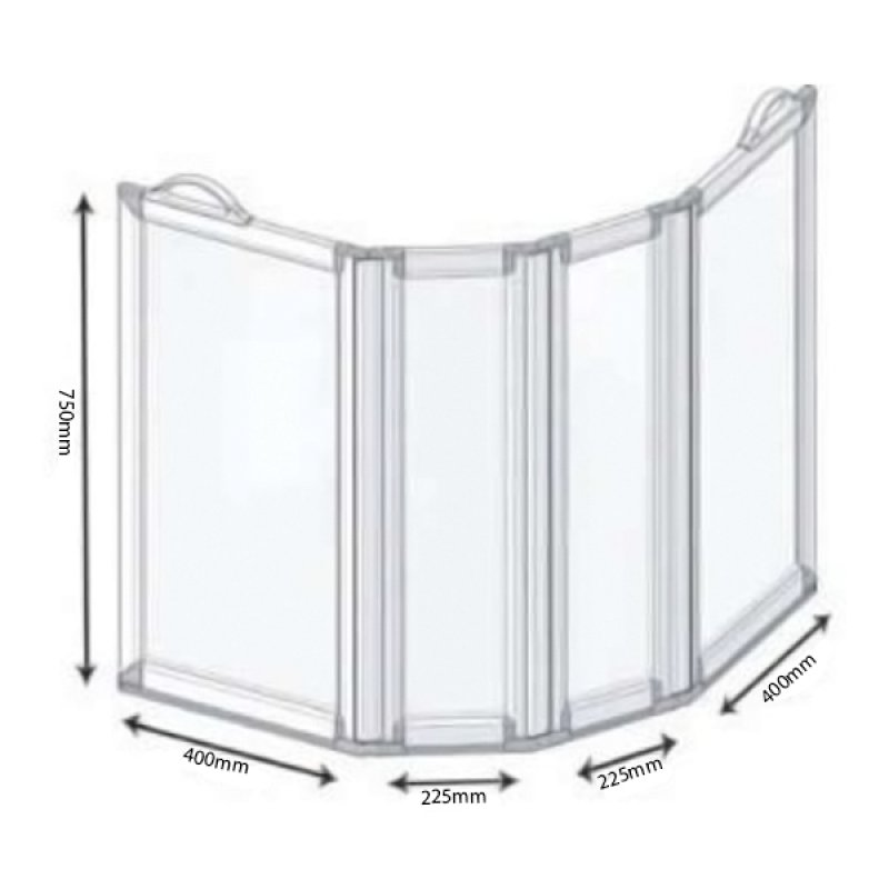 AKW Freeway 4 Panel Portable Shower Screen, 2x400mm x 2x225mm, 750mm High