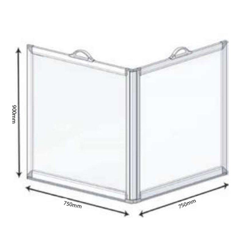 AKW Freeway 2 Panel Portable Shower Screen, 750mm x 750mm, 900mm High