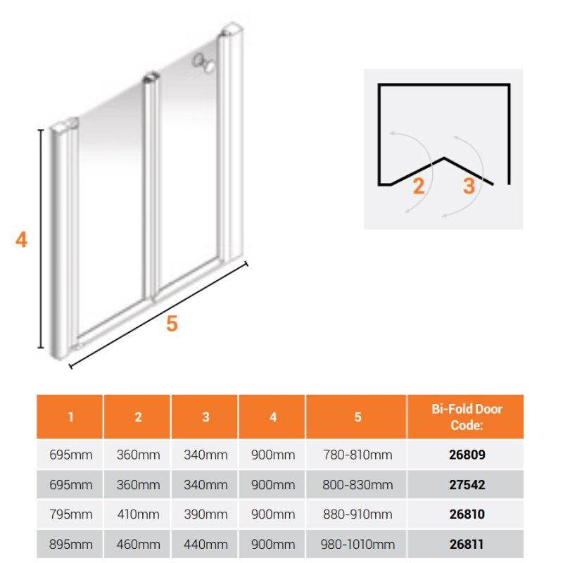 AKW Larenco Alcove Half Height Bi-Fold Shower Door 900mm Wide - Non Handed
