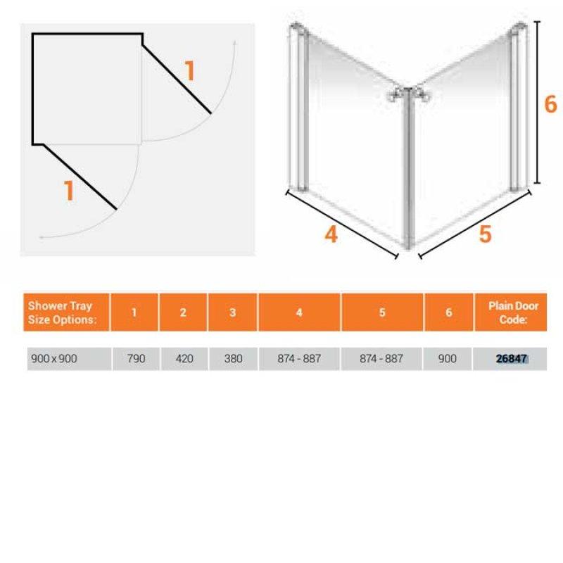 AKW Larenco Corner Care Double Door Shower Enclosure 900mm x 900mm - Non-Handed